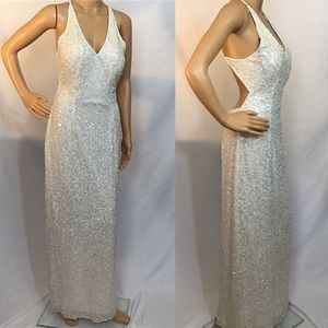 Vintage 90s Kazar White Silk Sequins Evening Gown